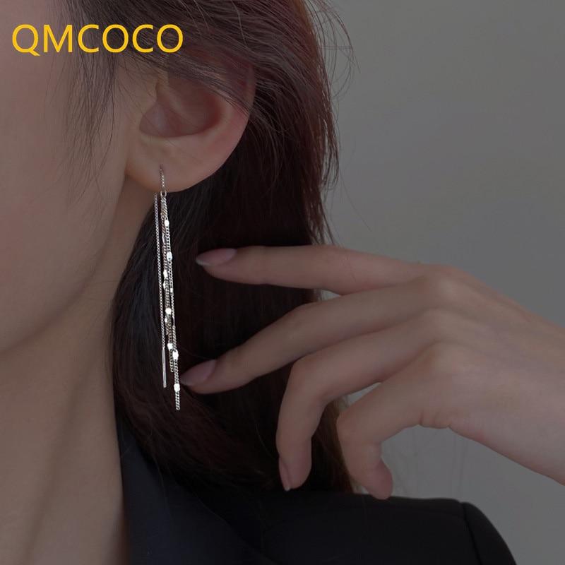 qmcoco-925-Серебряные-длинные-серьги-с-кисточками-для-женщин-Простые-2021-Новый-стиль-Модные-темпераментные-серьги-женские-аксессуары-для-ушей