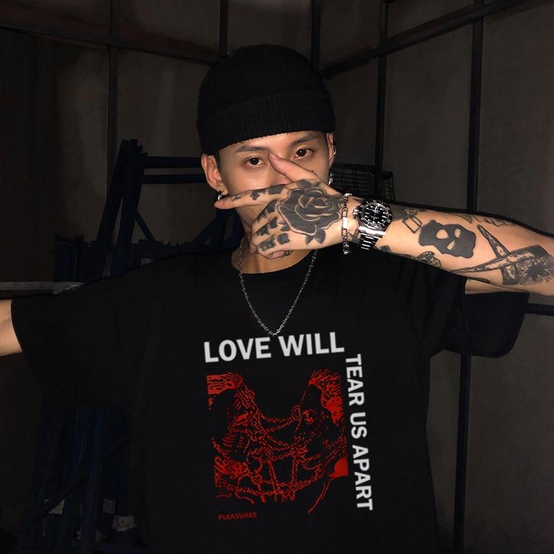 Hip Hop Lil Peep Love Will Tear Us Apart Punk T Shirt Men Oversized Tops Streetwear Summer Men's T-shirt Harajuku Letter Tee