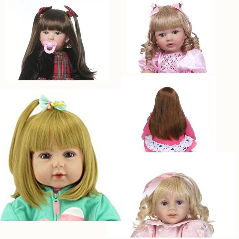 NPK, peluca de pelo pegado de muñeco de bebé Reborn de 60cm, peluca de pelo de muñecas Reborn realistas de silicona de 23 pulgadas, accesorio para DIY para muñecas