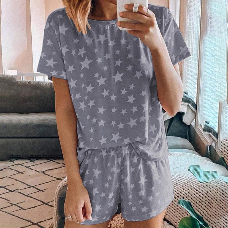 Estrela impressão linda mulher pijamas ternos verão o pescoço manga curta shorts pijamas feminino 2020 solto casual feminino casa terno