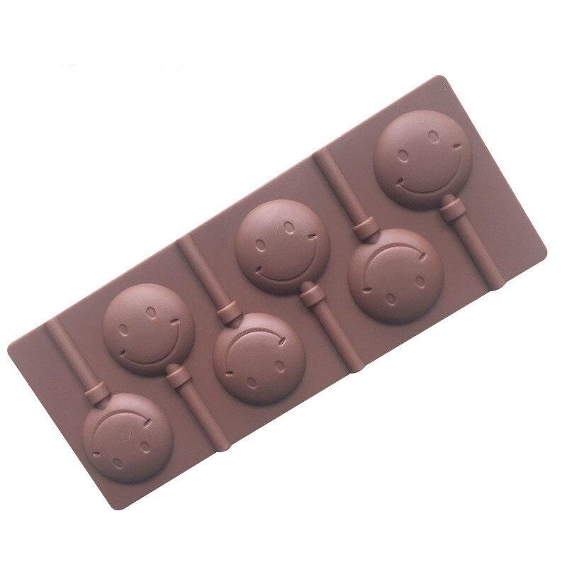 HMROVOOM, cara sonriente, piruleta de gel de silicona, molde de chocolate respetuoso con el medio ambiente, con palo, herramienta para hornear DIY