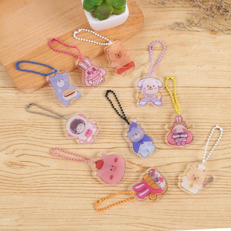 Корейский Ins милый мультяшный медведь, брелок для ключей кролик, акриловый двухсторонний рюкзак, декоративный маленький кулон, аксессуары, ...