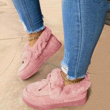 Новинка, модная женская зимняя обувь из хлопка, плюшевые теплые зимние сапоги, женские повседневные короткие сапоги на плоской подошве, однотонные пушистые женские сапоги