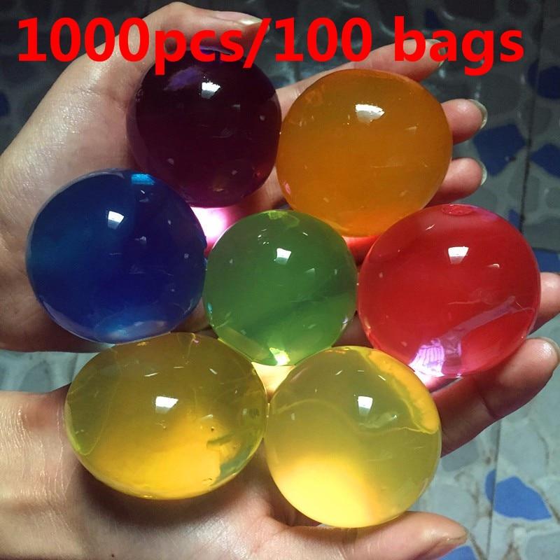 لآلئ هيدروجيل كبيرة للتربة الكريستالية ، طين طين هيدروجيل مائي ، كرة زفاف ، ديكور منزلي ، 1000 قطعة/100 كيس