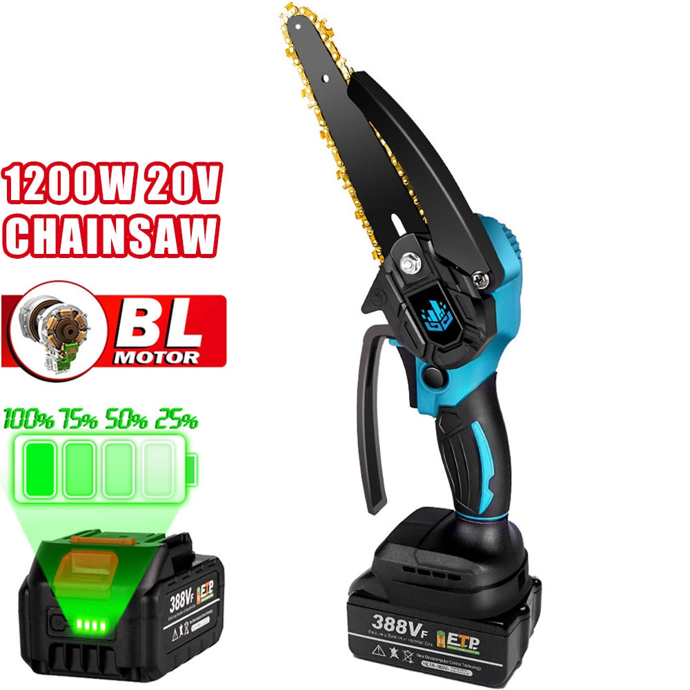 6 inch 1200w mini electric chain saw with battery indicator 128vf 388vf rechargeable woodworking tool for makita 18v battery 20V 6 Inch Brushless Chainsaw 1200W Cordless Mini Electric Logging Saws for Woodworking/Garden Pruning For Makita 18V Battery