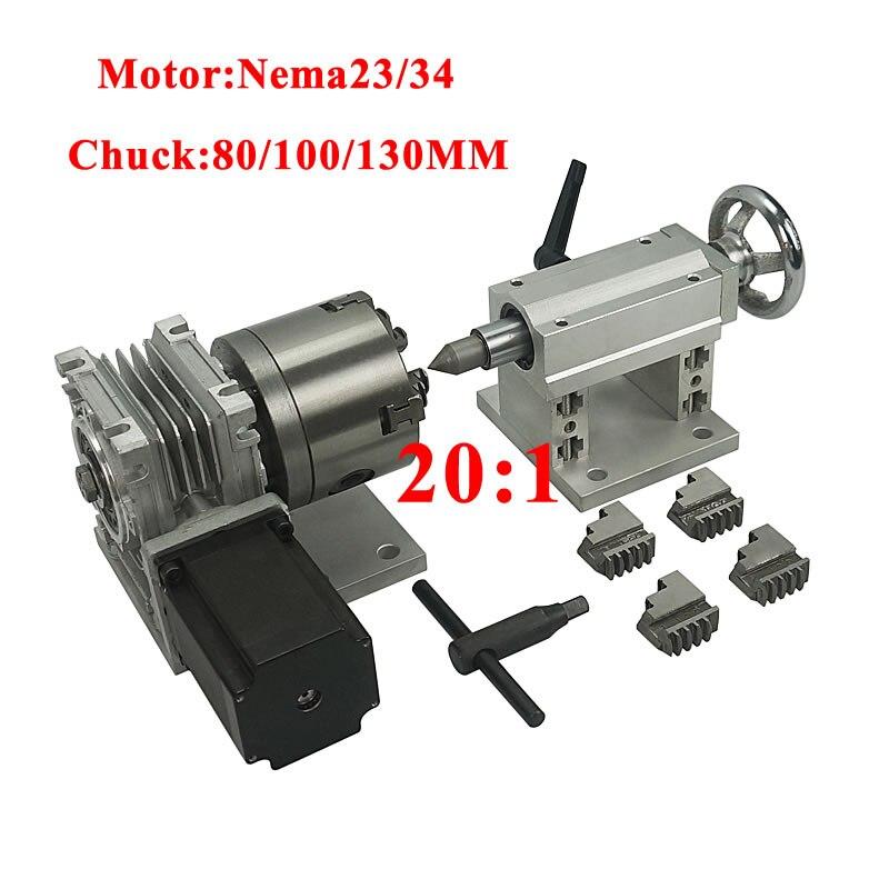 CNC, eje A, eje giratorio, 4 ejes, CNC, Portabrocas de contrapunto 80/100/130mm, 201, 4 mandíbula para enrutador de Metal, CNC 3040 6040, máquina de grabado
