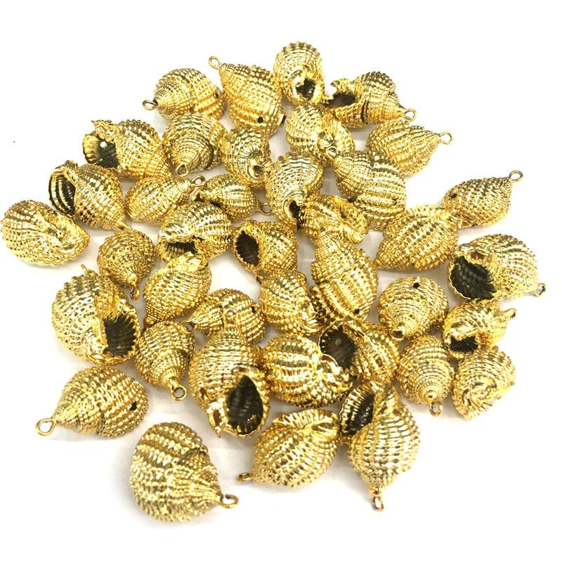 Naturais shell concha De Ouro Pingentes Encantos Colar pingente para Fazer Jóias Pulseira DIY Colares Acessórios Tamanho 15x25mm