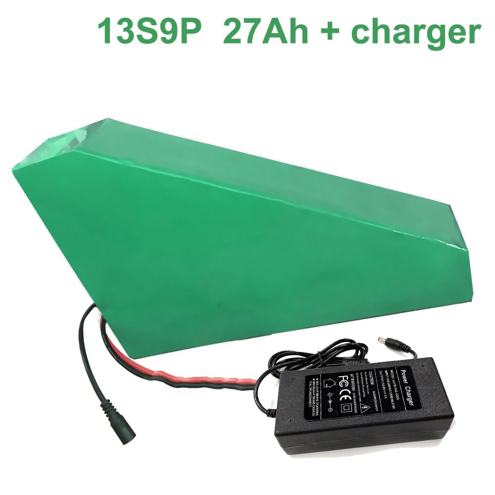 Con cargador 48V 27Ah 13S9P 18650 batería de iones de litio e-bike Ebike bicicleta eléctrica 330*310*200*70*70*45mm