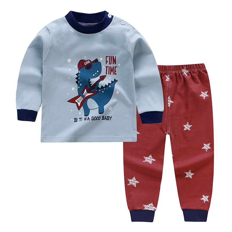 Children set cotton autumn baby warm pajamas suits fall clothes trousers spring girls boys kids toddler underwear home clothes