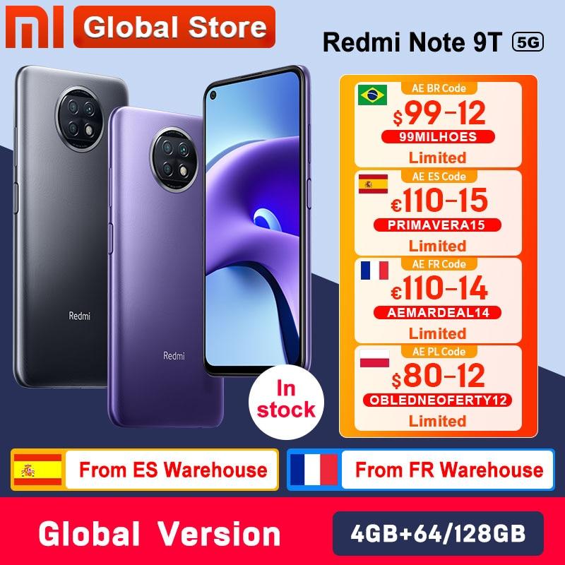 Global Version Xiaomi Redmi Note 9T 5G 4GB 64GB /128GB smartphone Dimensity 800U NFC 5000mAh 48MP Camera
