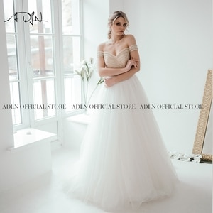 ADLN Sexy Off-shoulder A Line Wedding Gown High Quality Beaded Tulle White Ivory Bridal Dresses for Wedding