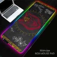 xgz wolf rgb backlit large colorful led lighting xxl animal keyboard mat gaming black mouse pad can be customized for computer