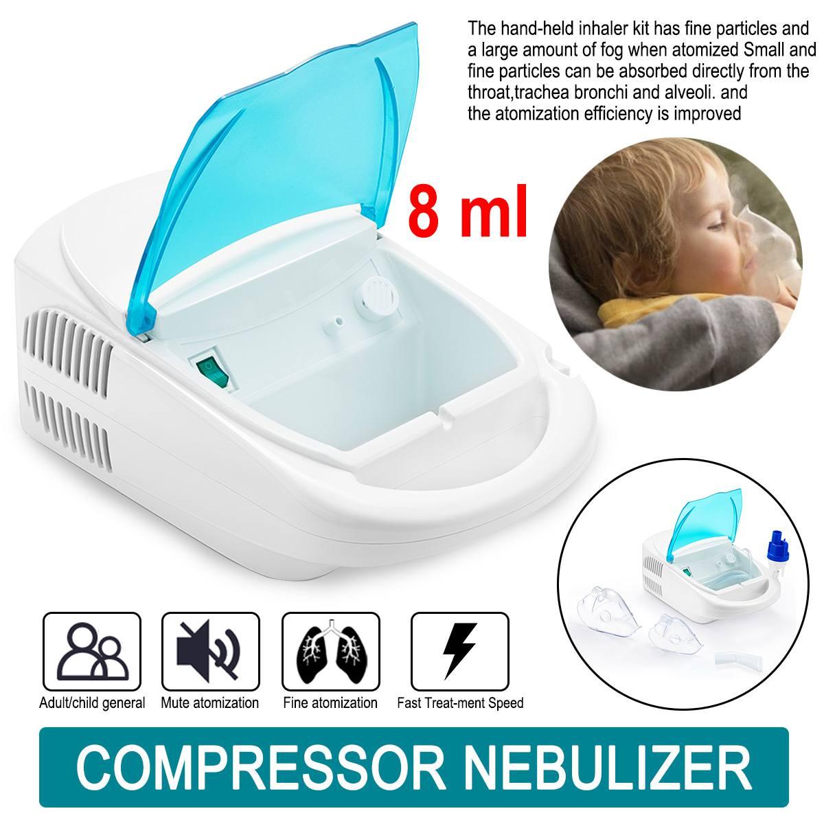 Nebulizador ultrasónico de bajo ruido de alta seguridad 8 ml adulto niño 220V portátil asma gripe tos rinitis pulverizador de la panza
