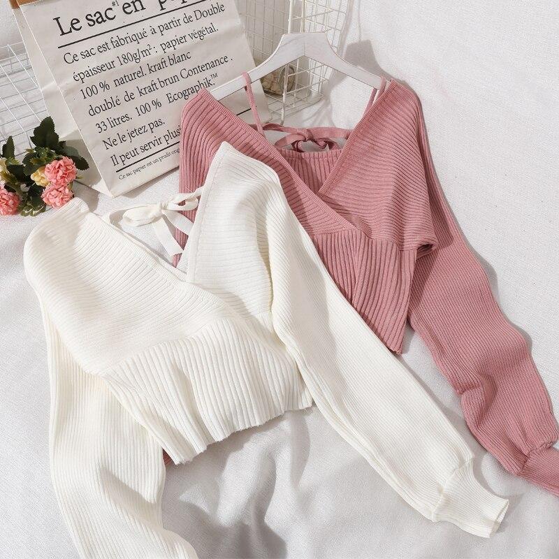 2021 Summer Women Long Sleeve V-Neck Knitted Basic Sweater Coat Shirt Lady Sexy Short Elastic Slim Waist Pullover Blouse Tops