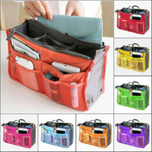 Sac cosmétique chaud sac à main en Nylon solide organisateur à glissière insérer doublure sac de voyage sac de rangement sac à main organisateur grand sac à main boîte cas