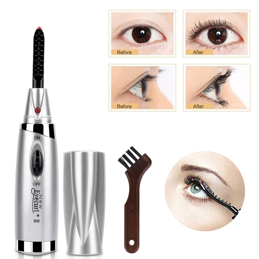 New Mini Electric Heated Eyelash Curler Wimperkruller Electric Heated Makeup Eye Lashes Long Lasting