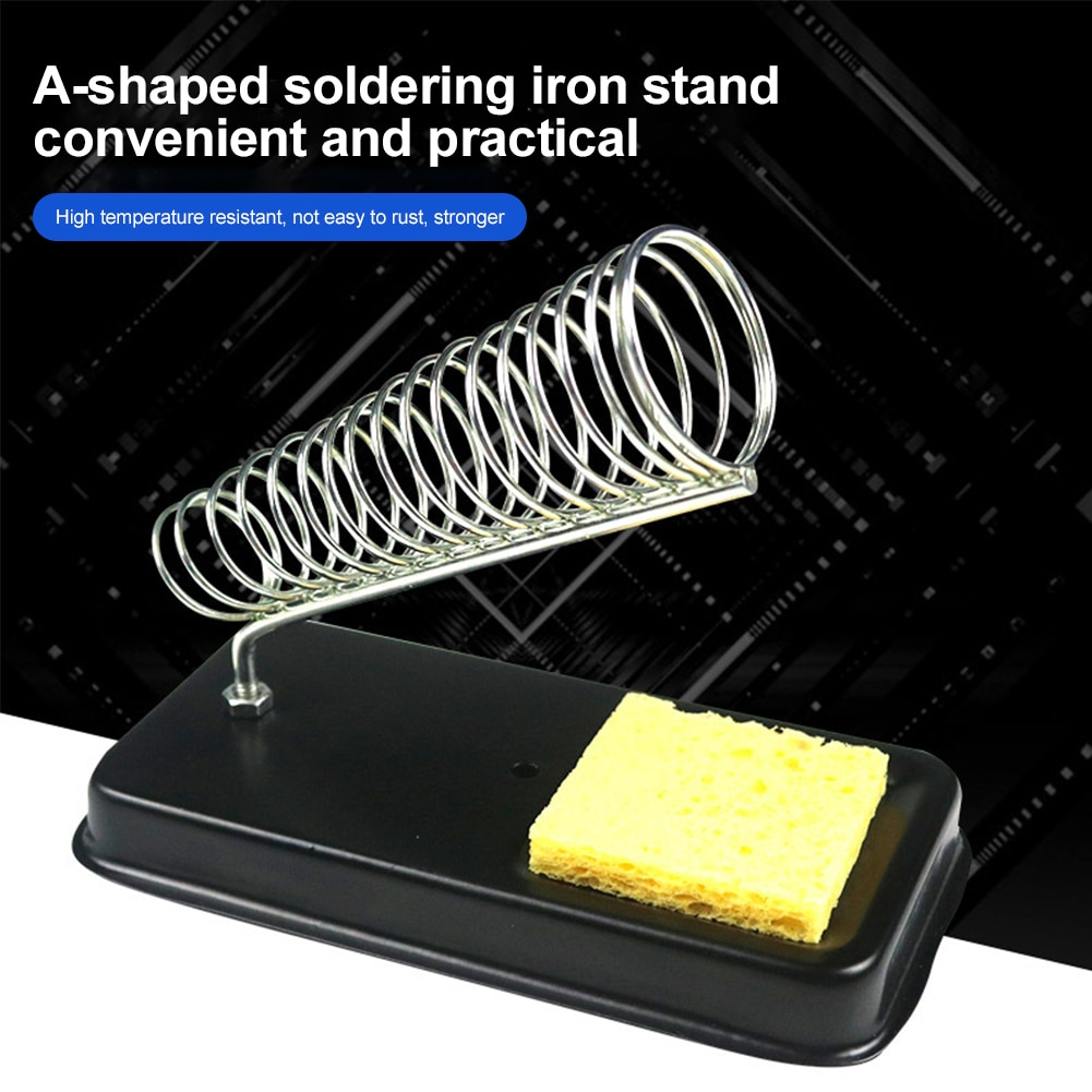Фото - 1PC Electric Soldering Iron Stand Holder Small With Welding Sponge Metal Support Station Generic High Temperature Resistance 17cm 230v 45w for ebmpapst w2s130 ab03 24 all metal high temperature resistance fan