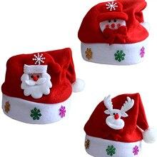 1 шт., горячая Распродажа, светодиодный светильник в виде Санта-Клауса, мигающий костюм, вечерние, красные кепки, детские, рождественские, рождественские, вечерние, милые кепки, подарки на новый год, Декор