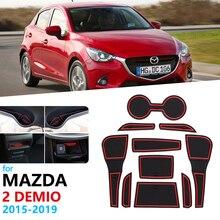 Anti-Slip Rubber Gate Slot Cup Mat for Mazda 2 Demio 2015 2016 2017 2018 2019 DJ Mazda2 Door Groove Mat Accessories Car Stickers
