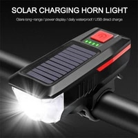 solar power bicycle light with horn t6 led road mountain bike front light usb rechargeable headlight 3 modes cycling head lamp