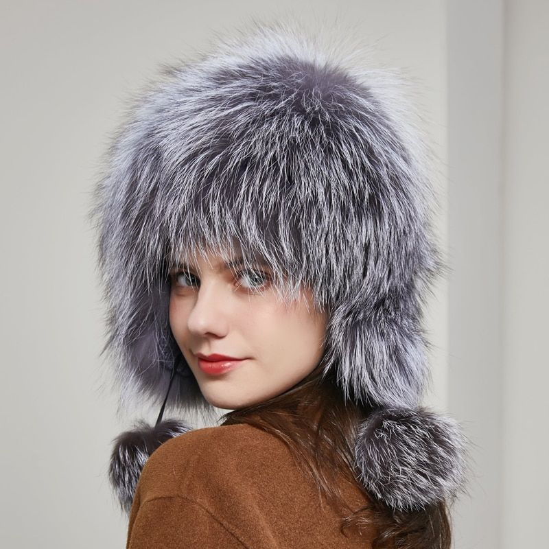 Russian hot sale fox hat winter women's 100% real silver fox ear cap protection cold-proof with ball bomber hat
