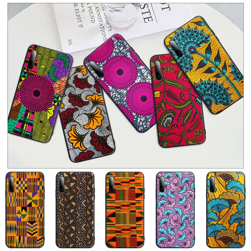 African Style Fabric Print Black Matte Phone Cover For Redmi Note 6 8 9 Pro Max 9s 8t 7 5A 5 4 4x Ca