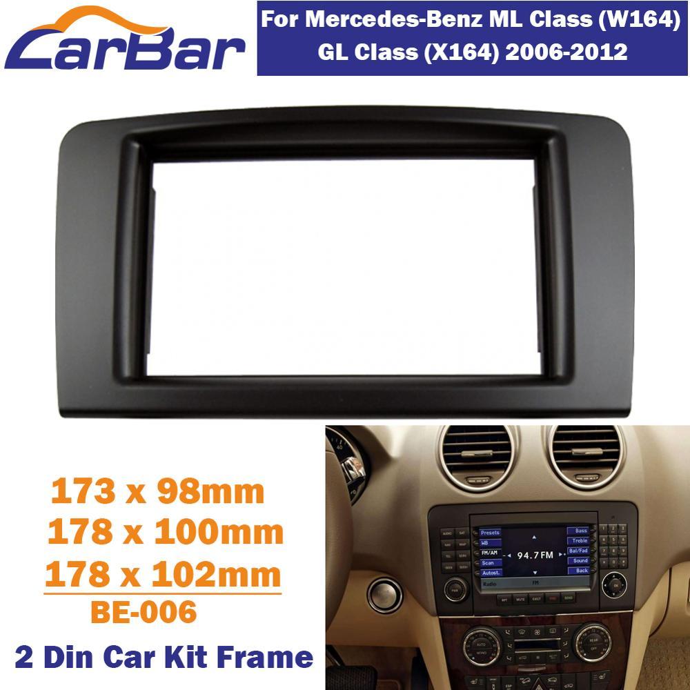 CarBar doble 2 Din coche Radio Fascia para Mercedes Benz clase GL W164 X164 2006-2012 estéreo Fascia Dash tablero marco