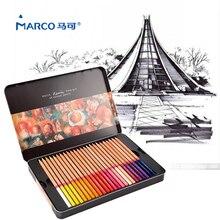 Marco Renoir 컬러 연필 24/36/48/72 전문 드로잉 컬러 연필 금속 상자 컬러 연필 Lapis de Cor 학교 용품