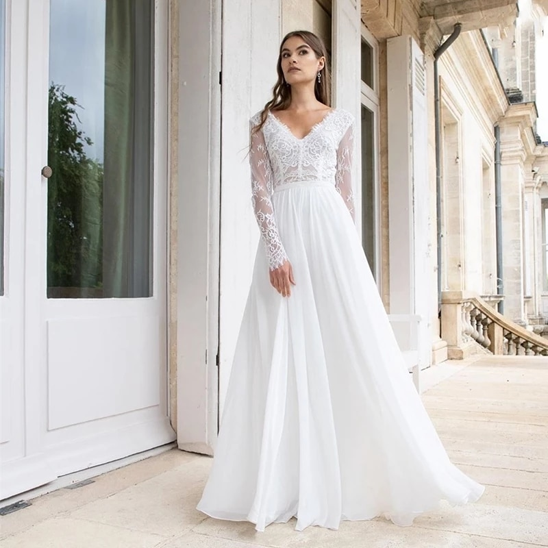 Review ChuYu 2021 Graceful New V Neckline Lace Long Sleeves Back Out  Floor Length A-line Wedding Dress Formal Occasion Hot Sale