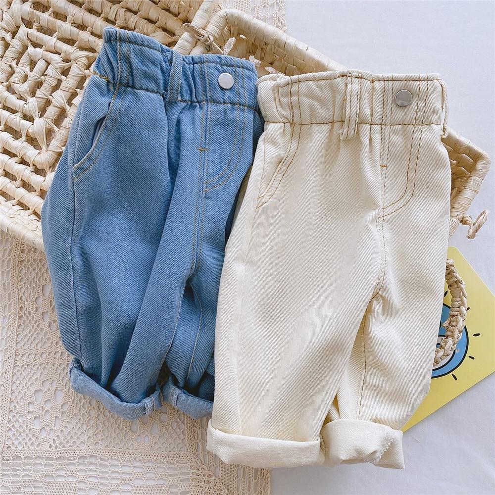 Pantalones vaqueros de cintura alta para niñas, pantalones vaqueros de color azul marfil para bebés de 0 a 4 años, pantalones para niñas, Ropa para Niñas, pantalones para niños