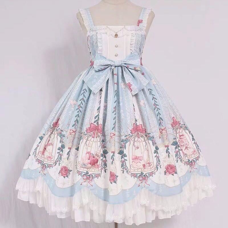 Платье в стиле Лолита, милое платье в стиле Лолита с клеткой, цепочкой и подвеской из бисера, в викторианском стиле, в стиле ретро