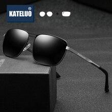 KATELUO Vintage Men's Sunglasses Photochromic Prescription Glasses Alloy Frame Square  Optical Eyegl