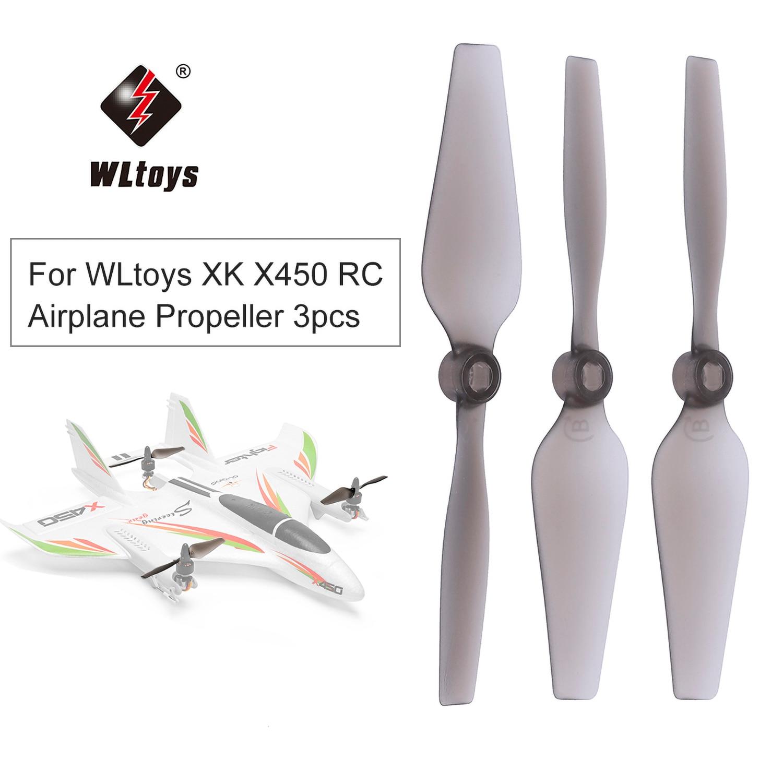 Piezas de hélice de ala fija WLtoys XK X450 RC, avión, avión, helicóptero, 3 uds.