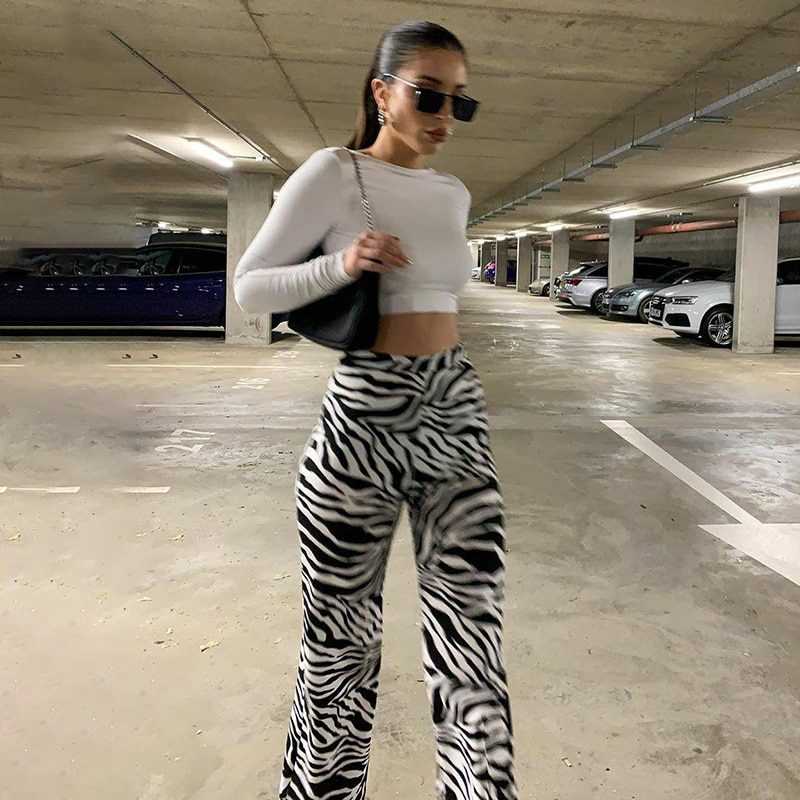 Zebra Print Wide Leg Pants Trousers Sexy High Waist Autumn Women New 2020 Fashion Casual Female Trousers Streetwear women autumn fashion snake skin print wide leg pants sexy party club flare pants casual elastic waist trousers pantalones