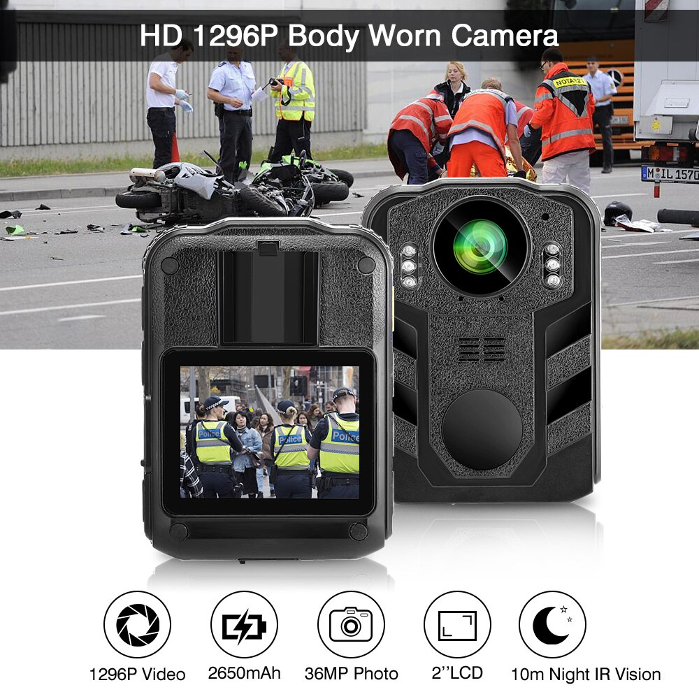Boblov Z09L Wearable Body Worn Camera HD 1296P 170 Degree 2 Inch Screen Security Police Camera Mini Comcorder IP65 Wear Camera