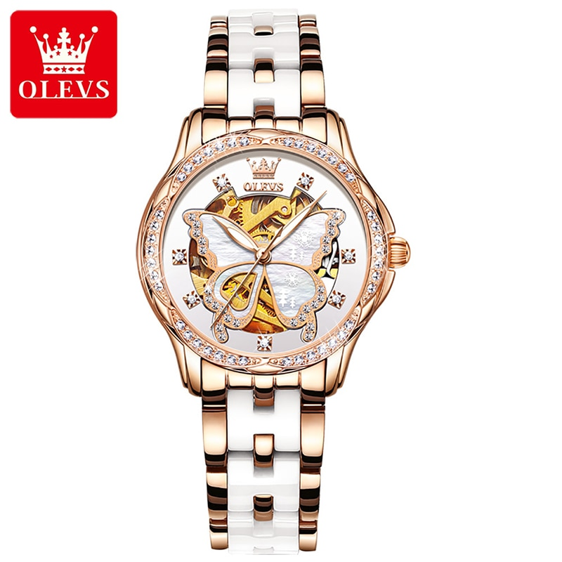 OLEVS Fashion Gold Hollow Butterfly Flower Automatic Mechanical Watch Stainless Steel Ceramic Luminous Waterproof Women's Watch enlarge