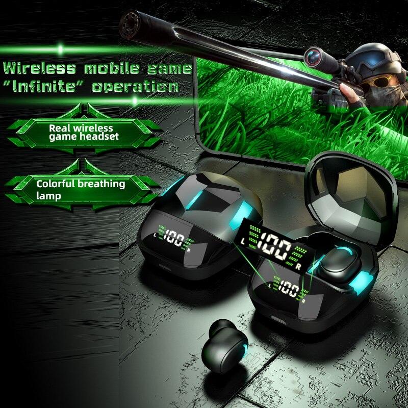 Wireless Headphone Bluetooth 5.1 Earphones Smart Digital Display 9D Stereo Game Waterproof Earbuds H