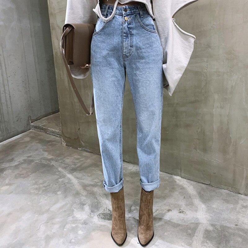 Autumn 2020 New Retro High-waist Straight-leg Jeans Loose Button Zipper Ladies