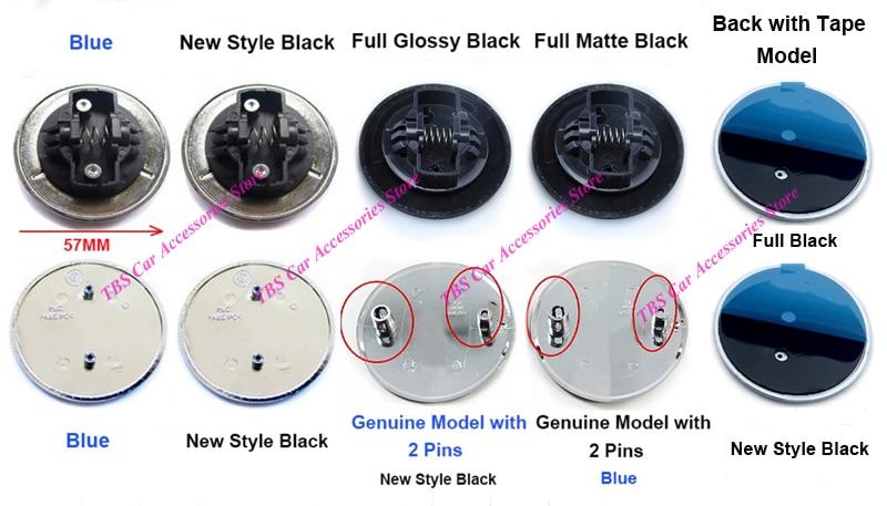 Alfileres o Clip de resorte o cinta 57MM azul negro de estilo plano de montaje del capó de la corona de la Corona emblema Hood insignia Logo para Mercedes Benz