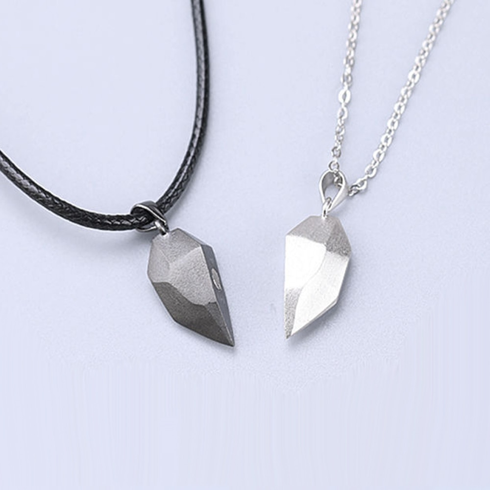 1Pair Magnetic Couple Heart Shape Necklace Gothic Punk Style For Men Jewelry Wedding Lovers Couples Valentine's Day gift Gifts the lovers day gifts