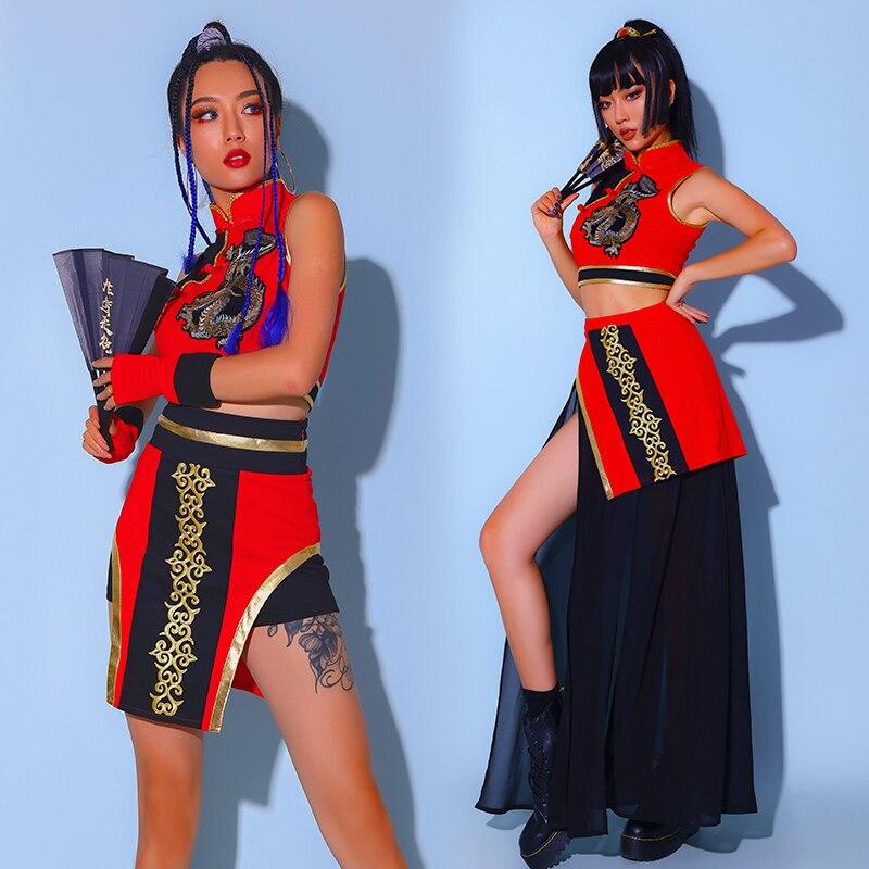 شريط Ds أداء زي النمط الصيني النساء Gogo فريق الرقص الجاز أزياء رقص لعب أغنية مرحلة ارتداء الهذيان الملابس DN9196
