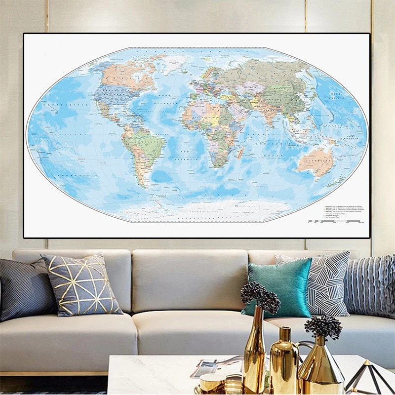 225*150 cm The German World Political Map Non-woven Canvas Painting Wall Art Poster Living Room Home Decoration School Supplies