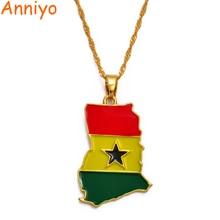 Anniyo Ghana carte/drapeau pendentif collier couleur or bijoux ghanéen pays cartes patriotique fête nationale cadeau #072406