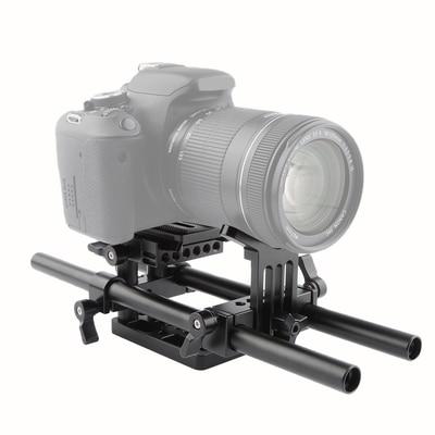 CAMVATE lente soporte + placa base + trípode placa de montaje + 15mm varilla cámara/DSLR videocámara DV/KIT