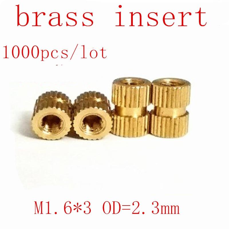 1000 pces m1.6 * 3 bronze inserir porca de moldagem por injeção bronze serrilhado rosca insere porcas od = 2.3mm