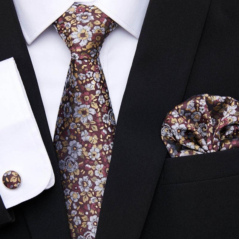 Gold Floral  Ties For Men Shirts Silk Men's Tie Handkerchief Cufflinks Set 35Colors Neck Tie Brand Fashion Design  S191