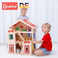 onshine diy wooden doll house with furniture handmade miniature house luxury simulation dollhouse assembling toys for kids gifts