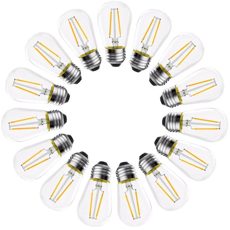 15 шт светодиодный S14 замена светильник лампы E26 2 Вт лампочки Эдисона для приготовления пищи на воздухе строка светильник s Замена-использова...