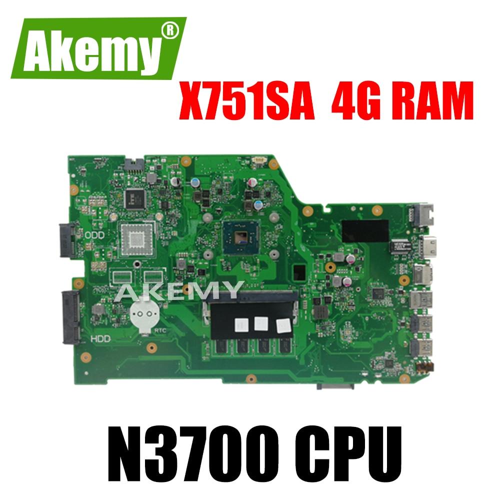Placa base X751SA N3700 CPU 4GB RAM para ordenador portátil For For For Asus X751S X751SJ X751SV placa base 90NB07M0-R00050 probado, envío gratis