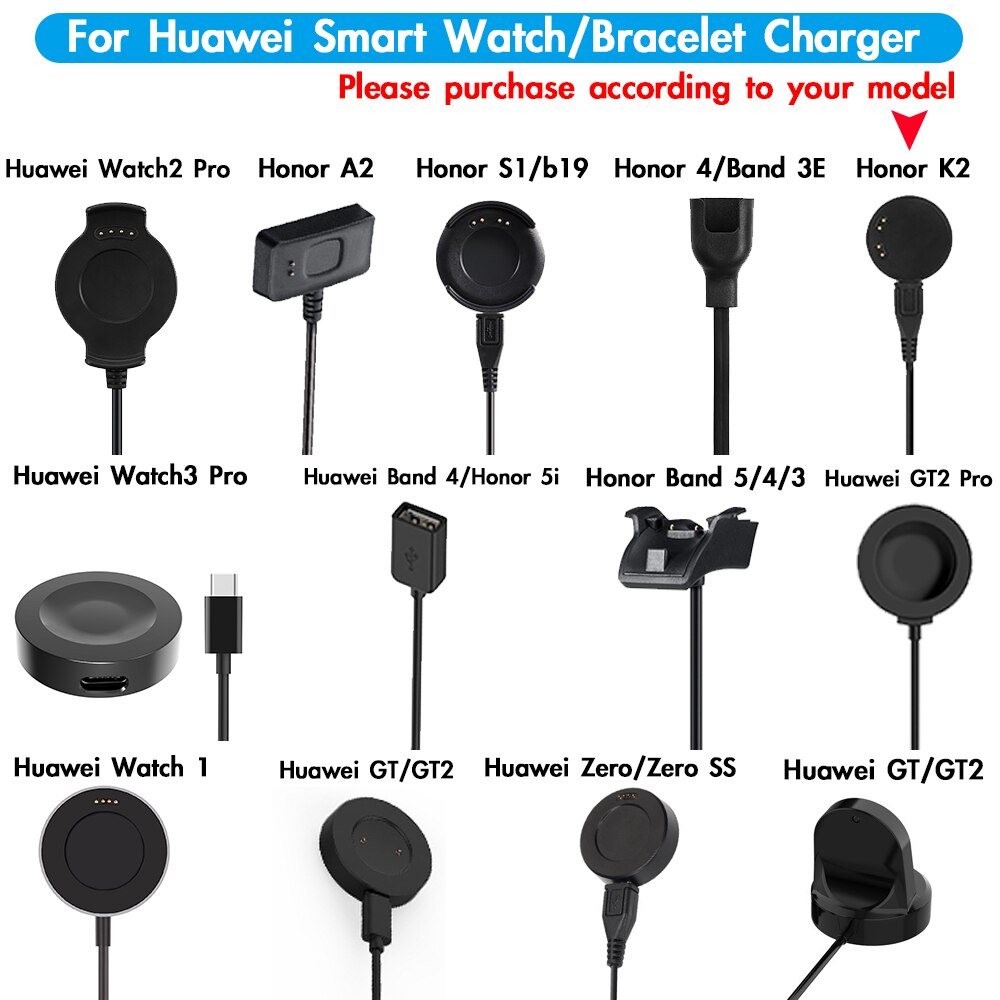 USB-кабель для зарядки для смарт-часов Huawei Watch 2 / 3 Pro / Honor 5i 4 A2 K2 S1 B19 / GT / GT2 Pro / Band 5 4 3 3E